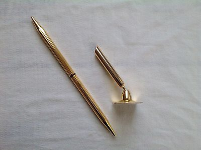 Qty 4 Desk Penfunnel Swivel Holderpeelstick Base Gold Finish Executive Slim