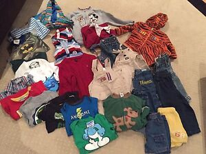 Box of boy clothes size 12mo-2T for sale