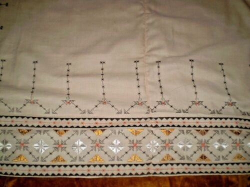 Lovely Vintage Hand-Embroidered Tablecloth  size 62
