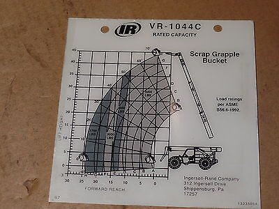 New Ingersoll Rand Vr-1044c Rated Capacity Scrap Grapple Bucket 13335054