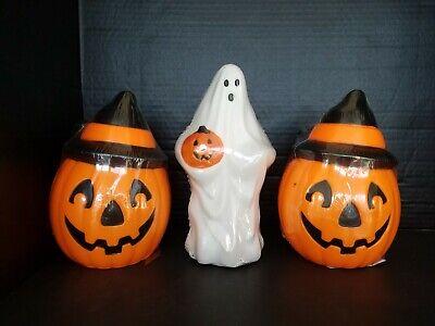 Vintage Empire Blow Mold Pumpkin Witch Hat & Ghost 1995 Halloween Decoration