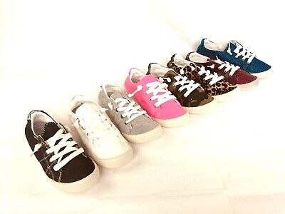 New Womens Lace Up Canvas Shoes Casual Comfy Slip-On Sneakers tennis Size 6-10 ()