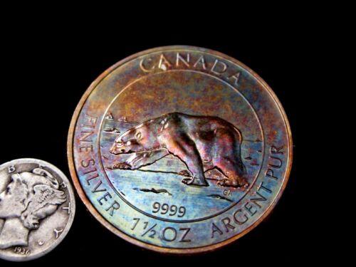 2013 Canada POLARBEAR Canadian Wildlife Series 1.5 oz .9999 Toned Silver BU Coin