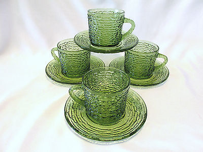 1960's Anchor Hocking Lido Soreno 4 Cups & Saucers Avocado Green Discontinued