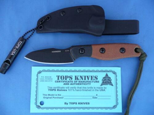 TOPS Hornero Knife Tan/Black Micarta 1095 Carbon Steel Kydex Sheath USA
