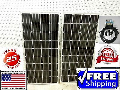 2- 175  Watt 12 Volt Battery Charger Solar Panel Off Grid RV Boat 350 watt reckon