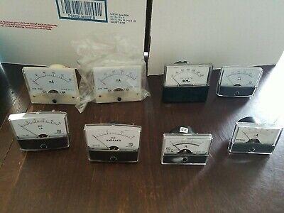 Lot Of 8 Various Gauges. Analog Needle Panel Meter Amp Milliamp Volt Gauges