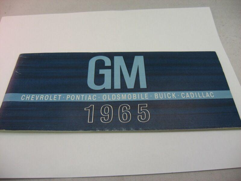 Beautiful Color Vintage 1965 GM General Motors Cars Auto Pamphlet Booklet