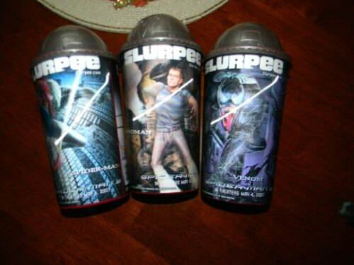 7 Eleven Hologram 3 Spiderman Slurpee Cups Venom Sandman Spiderman