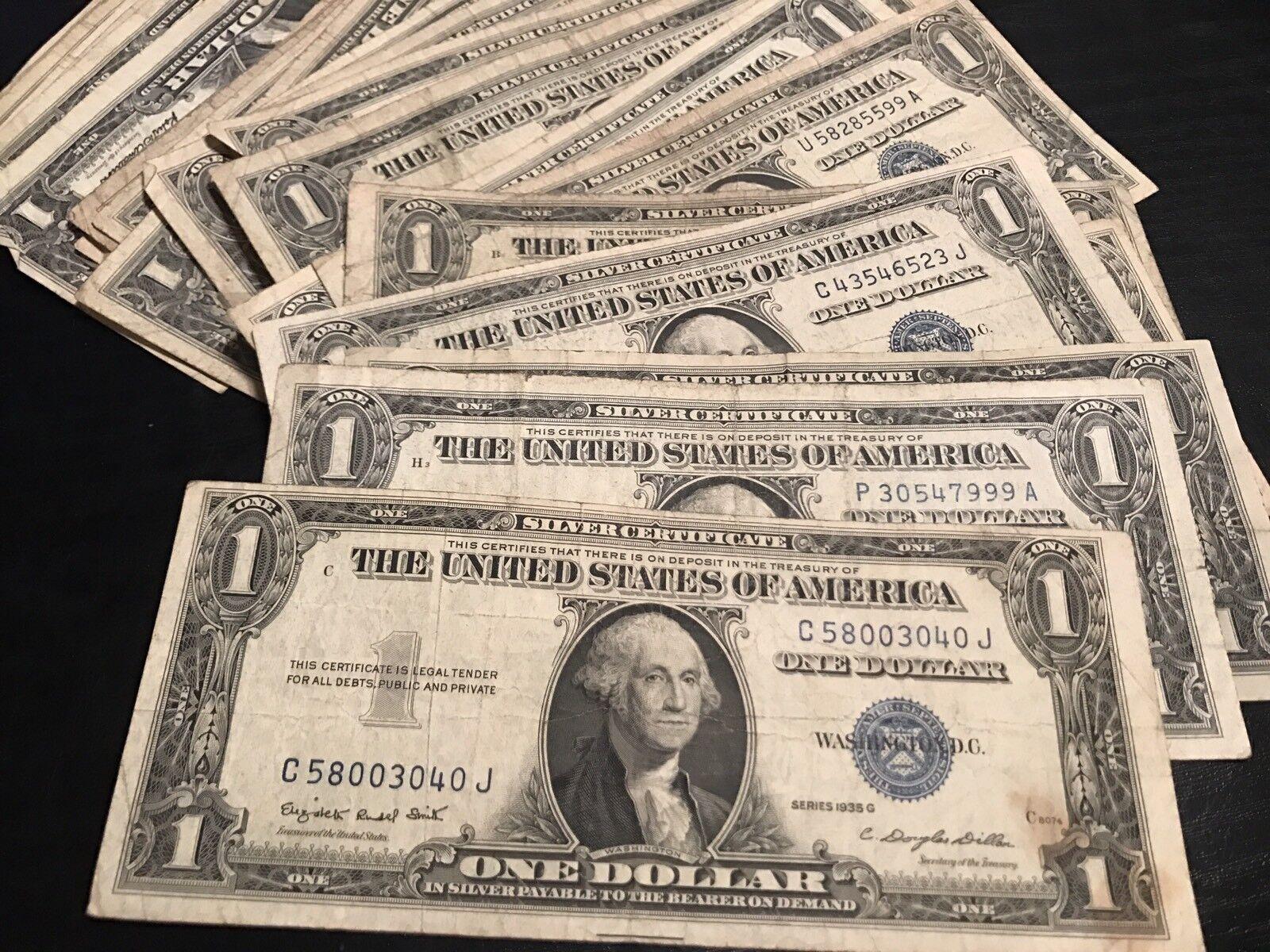 1935 1957 Lucky 1 Silver Certificate Rare Blue One Dollar Bill