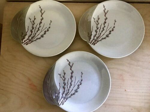 Canonsburg Willard George Pussy Willow Bread and Butter Plates Set 3 MINT COND