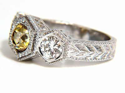 GIA 2.30CT FANCY YELLOW BROWN DIAMONDS RING 18KT EDWARDIAN CROWN DECO+ 2