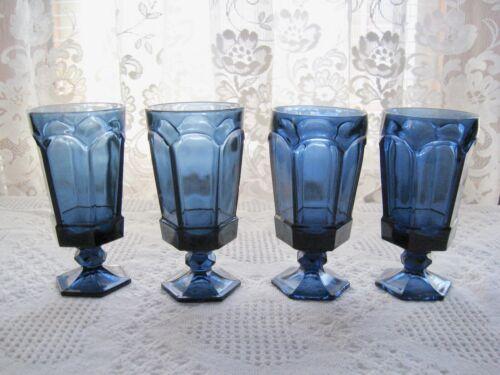 4 Excellent Fostoria Virginia Dark Blue Iced Tea Glasses
