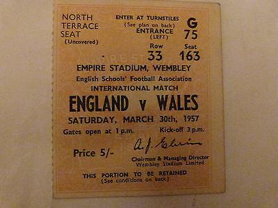 1956/57 ENGLAND V WALES - SCHOOLS INTERNATIONAL MATCH TICKET - WEMBLEY STADIUM