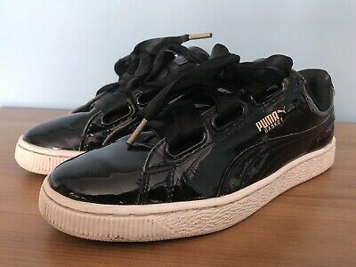 PUMA BASKET HEART - patent black - SIZE UK 6 EUR 39 very good condition