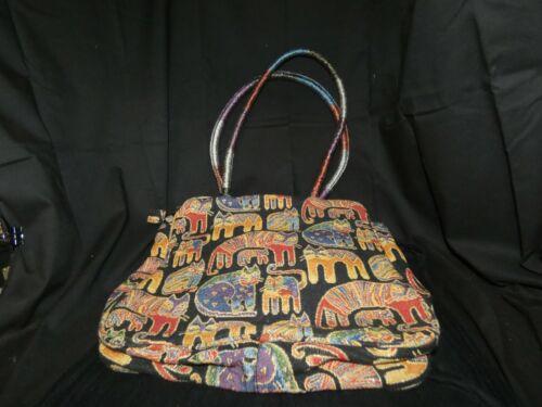 Laurel Burch Feline Print Tapestry Tote Bag Multi-Color Kitty Cat Shoulder Purse