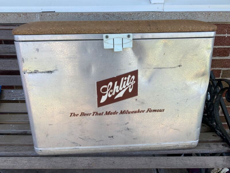 vtg SCHLITZ BEER Metal ALUMINUM Cooler Ice Chest with Tin Food Container