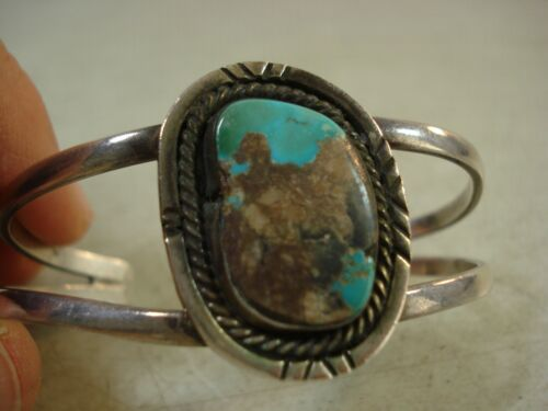 OLD PAWN Boulder Turquoise Sterling Silver** CUFF BRACELET NICE*