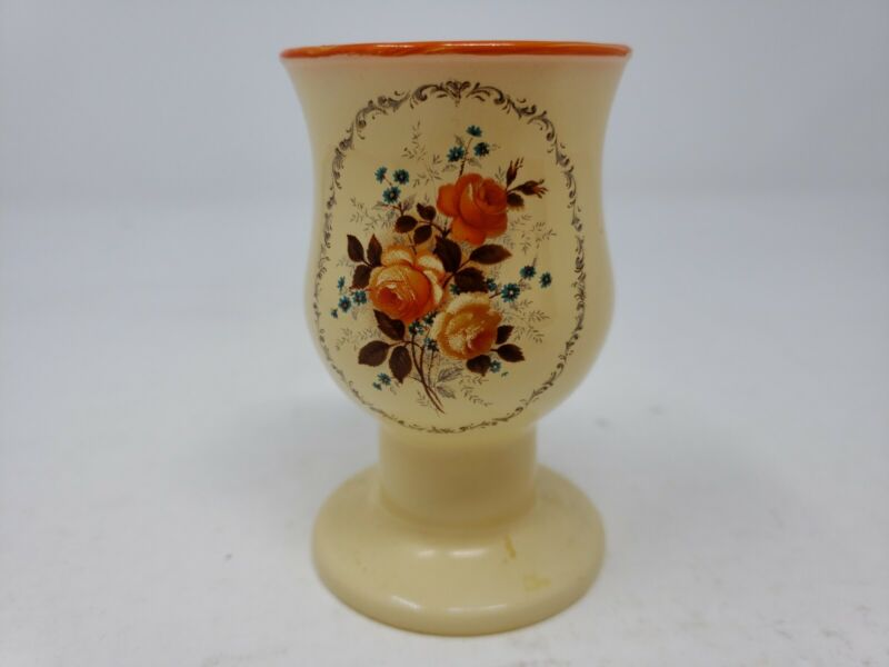 Vintage Peach Colored Glass Egg Cup Painted Roses RARE