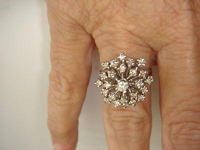 Vintage 14K White Gold Diamond Snowflake/Starburst Ring 1 Karat of diamonds