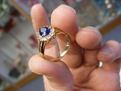 Vtg 925 Sterling Silver Blue Stone Ring Size 8 1/4 # 411