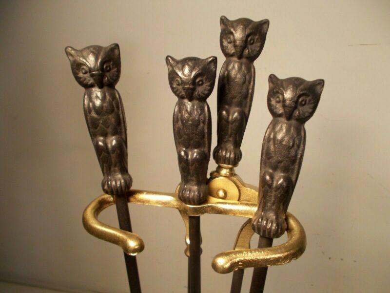 Antique Cast Iron, Brass Fireplace Tools Owl Handles Poker Shovel Tongs & Stand