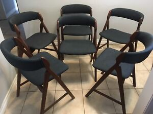 Set of 6 Mid century modern Danish Teak dining chairs