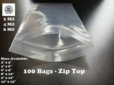 100 Plastic Bags Zip Seal 2-4-6mil Thick Reclosable Top Lock Zipper Small Large