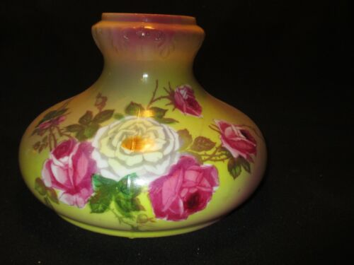 """ANTIQUE~~8 1/2"""" FLORAL PAINTED SHADE"""
