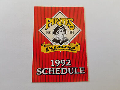 Pittsburgh Pirates 1992 Mlb Baseball Pocket Schedule   Giant Eagle