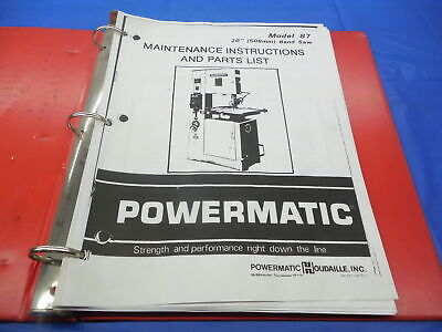 Powermatic Model 87 20 Band Saw Maintenance Instructions And Parts List Binder