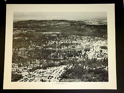 Vtg Lake Oswego, Oregon Aerial View 60's Poster HUGH ACKROYD Promo Ben Franklin