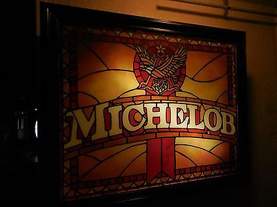 "Michelob  Bar Stain Glass Bar Lighted Shadow Box Sign 31 3/4"" Long REAL GLASS"