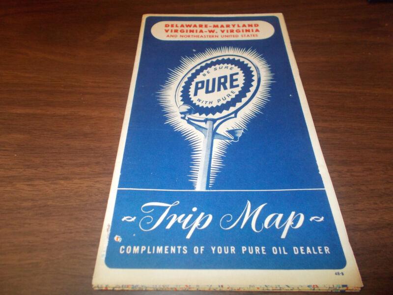 1948 Pure Oil Delaware/Maryland/Virginia/West Virginia Vintage Road Map