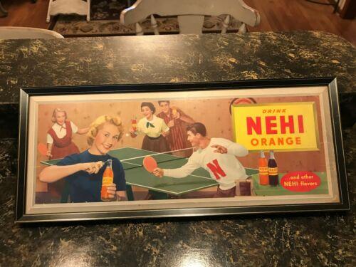 """vtg Original 1940s CARDBOARD NEHI ORANGE cola Advertising Sign Framed 24"""" X 11"""""""