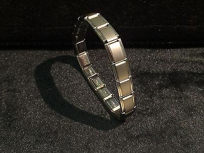 9mm Stainless Italian Charm Bracelet (D'linQ 9mm Stainless Steel 18 Link Italian Charm Starter Bracelet Matte Silver )