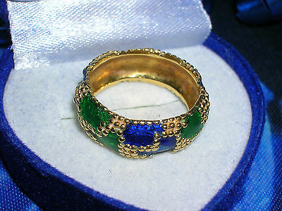 (EXQUISITE Vintage Estate 14k Gold EMERALD GREEN & ROYAL BLUE ENAMEL Pinky Ring)