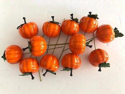 Halloween Pumpkin Decorated Cakes (12 VINTAGE HALLOWEEN FALL HARVEST PUMPKIN FLORAL OR CAKE PICKS TAIWAN)