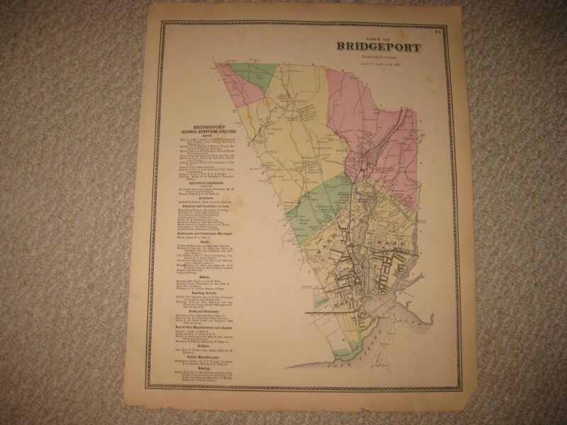 SUPERB ANTIQUE 1867 BRIDGEPORT FAIRFIELD COUNTY CONNECTICUT HANDCOLORED MAP NR