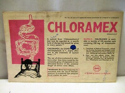 Vintage Chloramex Medicine For Typhoid Advertise Sample Card Blotter Collectibl""