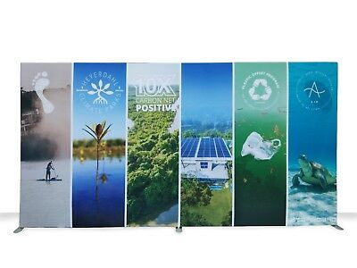 20ft Straight Trade Show Display Backdrop Custom Double Side Print Pop Up Stand