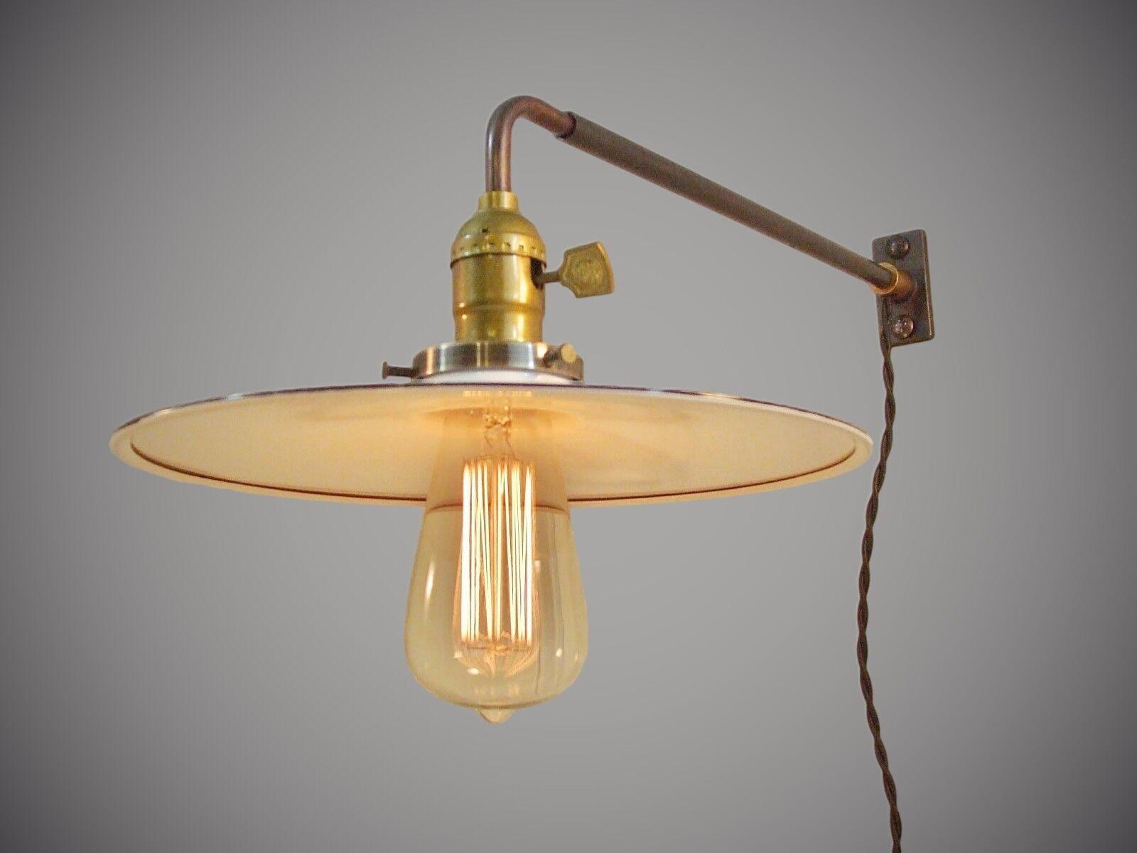 vintage industrial wall mount light flat steel shade. Black Bedroom Furniture Sets. Home Design Ideas