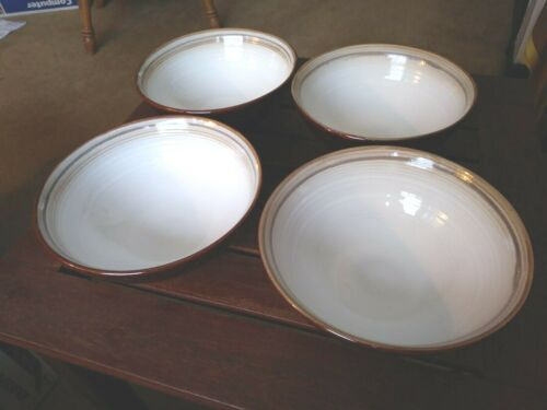 """4 Sango Jetta Brown 6-5/8"""" Soup Cereal Bowls # 4831 Cream Brown VG Condition"""