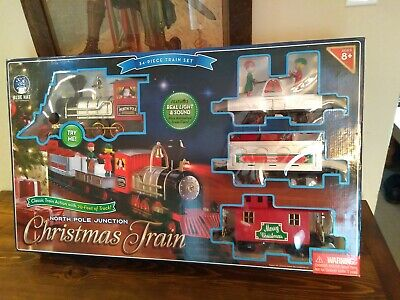North Pole Junction Christmas Train Set Blue Hat Toy 20' Track Light Sound