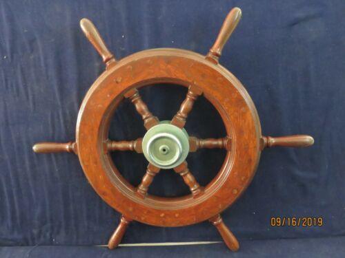 VINTAGE ORIGINAL SHIPS WHEEL WITH KING SPOKE STEERING LOCK  CLOCK BELL BOAT TUG