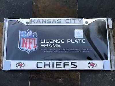 1 Kansas City Chiefs Chrome Metal Vehicle License Plate Frame 1 Kansas City Chiefs Framed