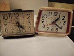 Vintage Ingraham Lighted Dial & dislite Westclox Electric Alarm Clocks WORKS