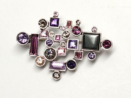 Patricia Locke Silver PIN Brooch Improvisation Purple Rain Swarovski Crystals