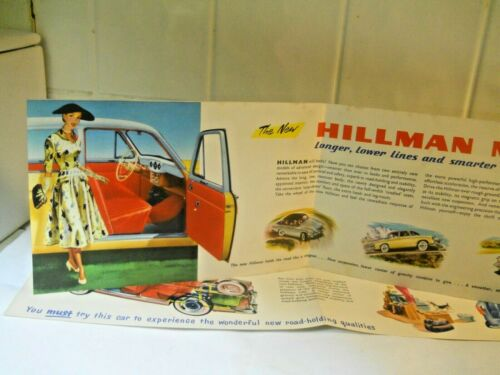 Hillman Minx Brochure Small Folder Original Early 1956 Great graphics!