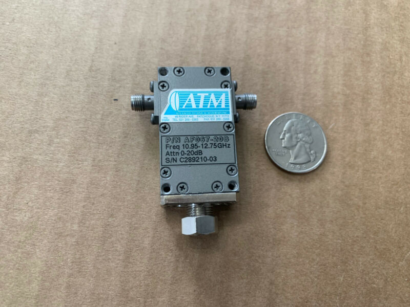 L3 Narda ATM Coaxial Miniature Variable Attenuator SMA AF067-20A 10.95-12.75 GHz